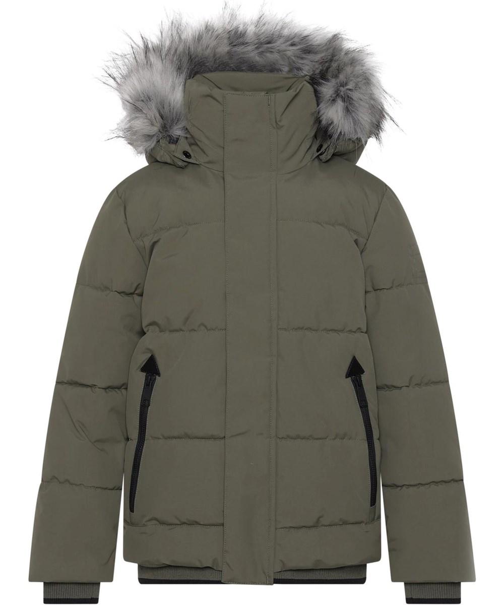 Herbert - Vegetation - Dark green winter jacket with faux fur