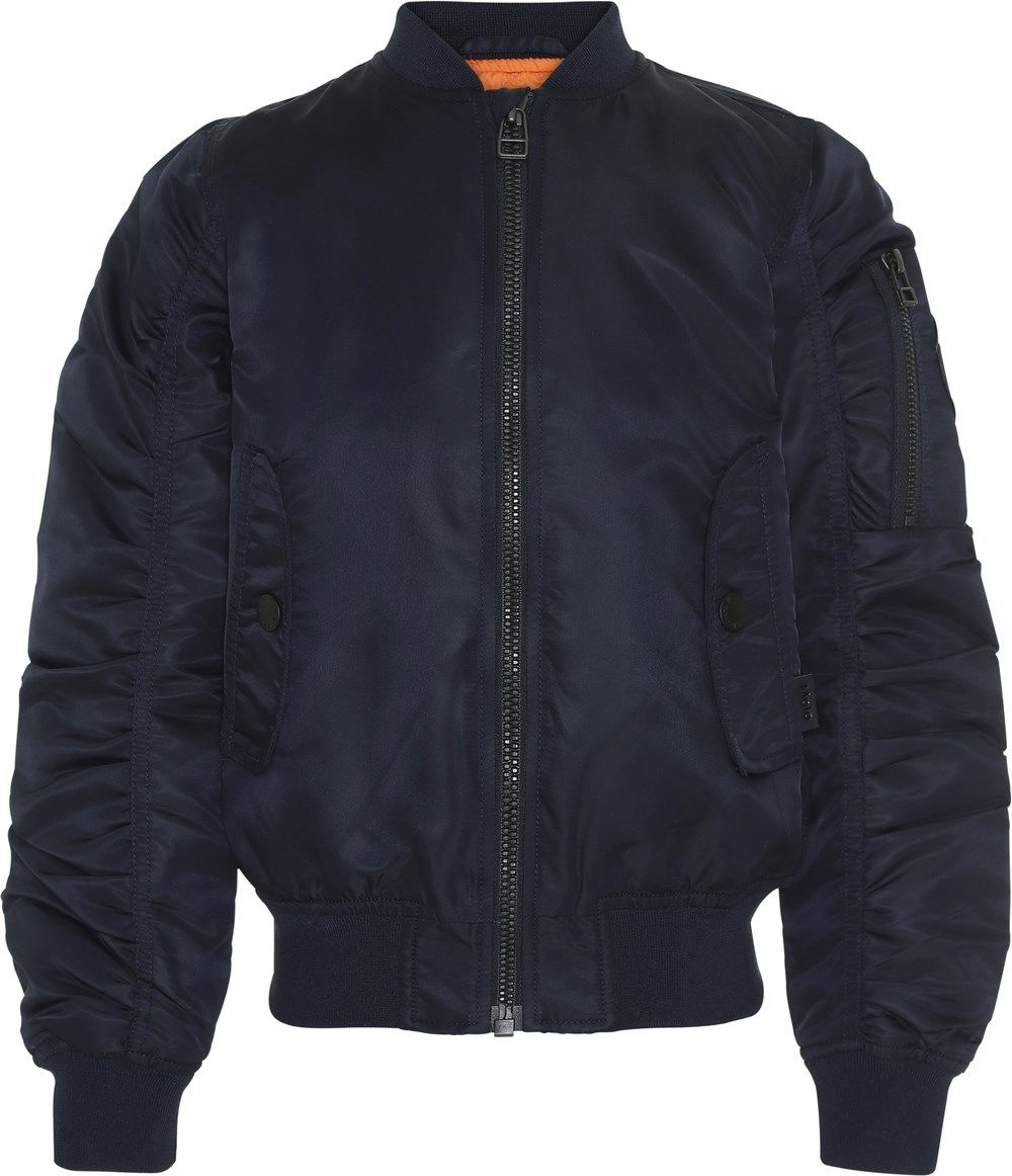 Hiker - Carbon - Dark blue bomber jacket with gathered sleeves