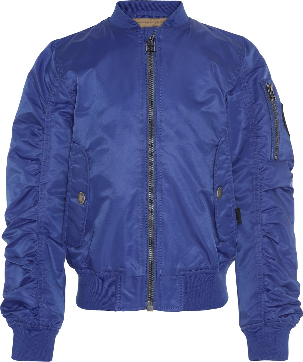 Hiker - Royal Blue - Blue bomber jacket with gathered sleeves