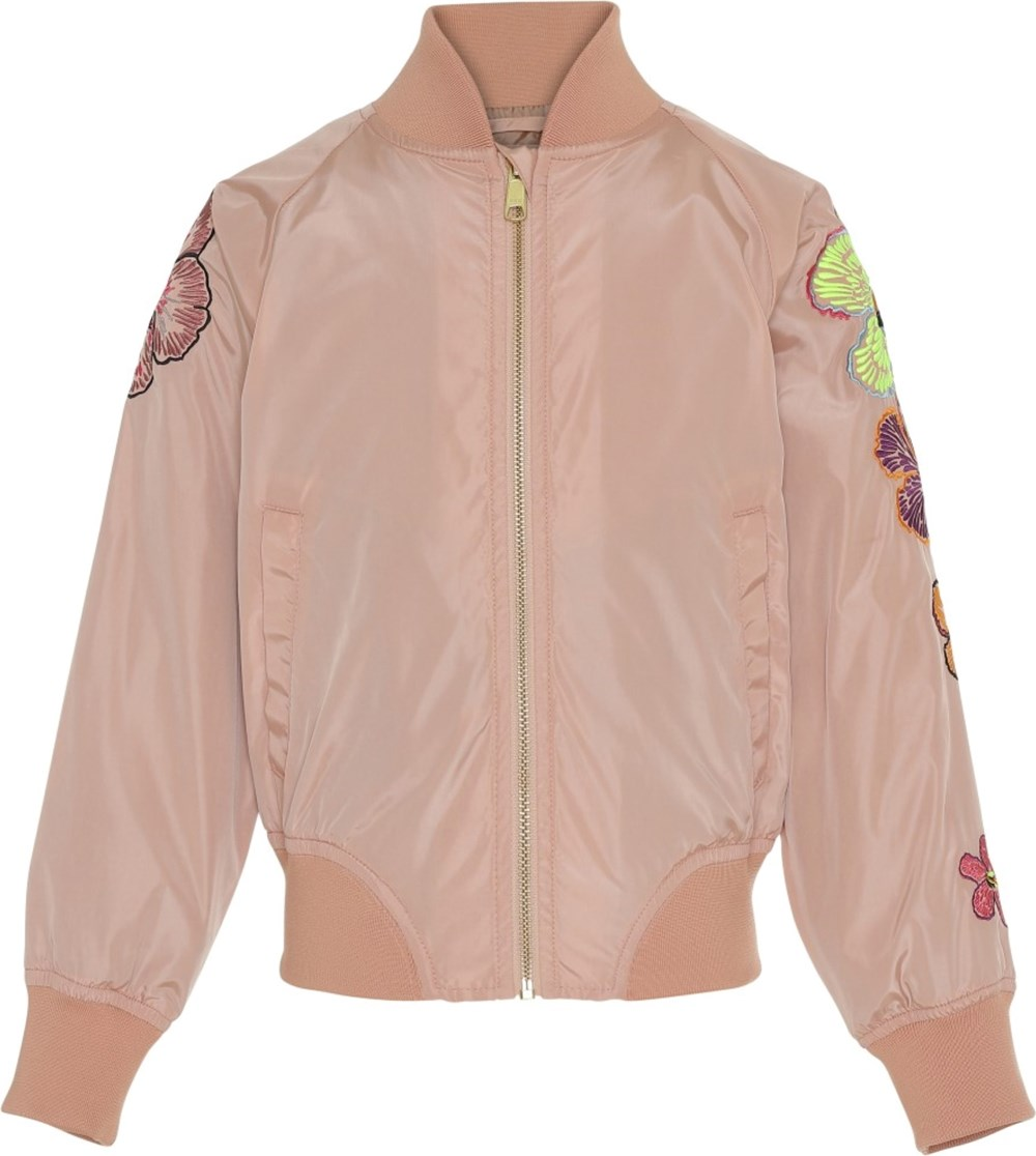 Hilde - Cafe Créme - Rose bomber jacket with flowers