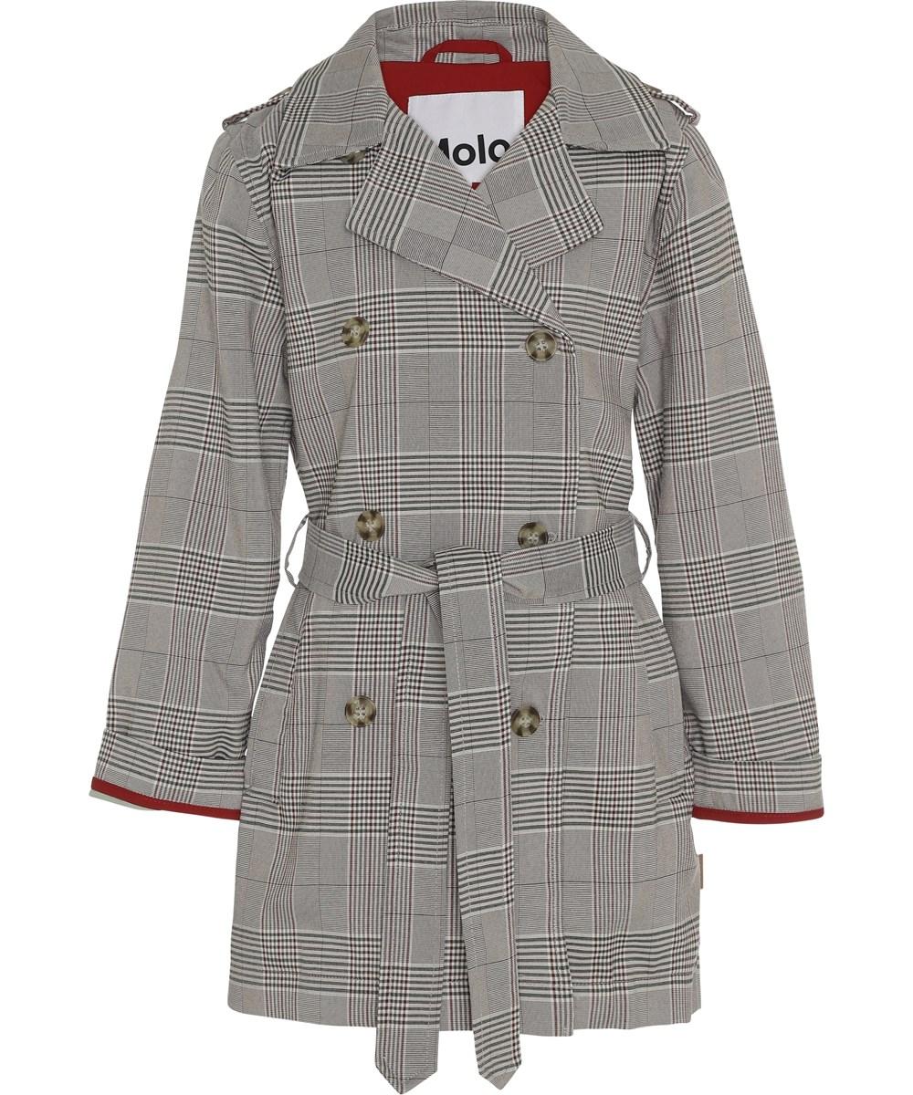 Hildegarde - Bamboo - Grey plaid trench coat