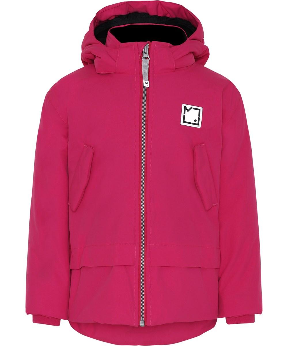 Hira - Bright Pink - Pink winter jacket with hood.