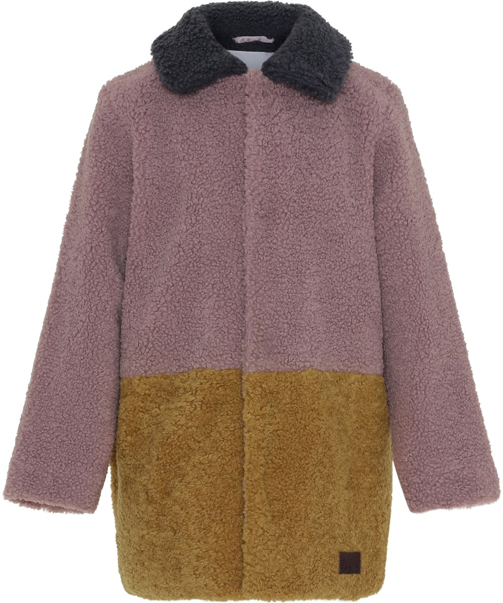 Holley - Block Colour - Teddy coat in yellow and rose.