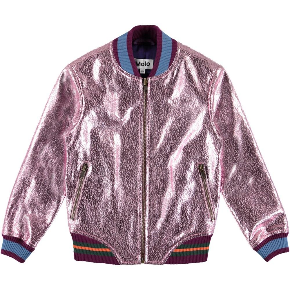 Hollis - Alpine Flower - Metallic leather bomber jacket.
