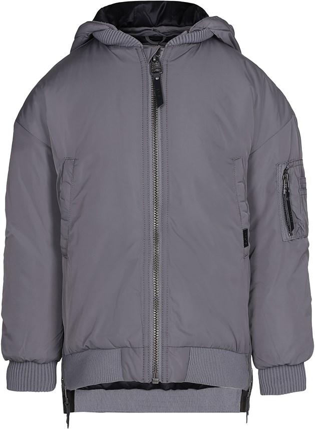 Hollyn - Smokey Grey - Long, lined winter jacket in grey