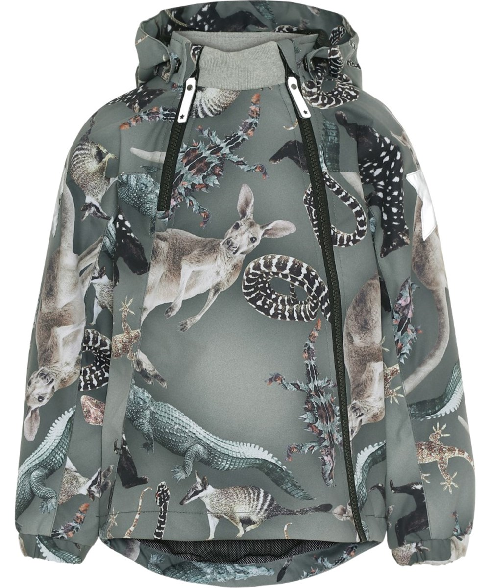 Hopla - Camo Bush Animals - Waterproof green jacket with animal print