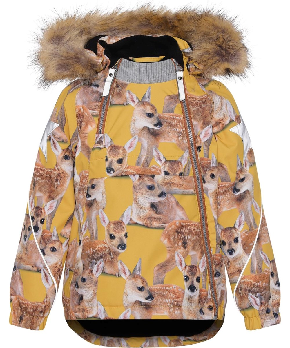 Hopla Fur - Fawns - Recycled yellow winter jacket with fur and deer