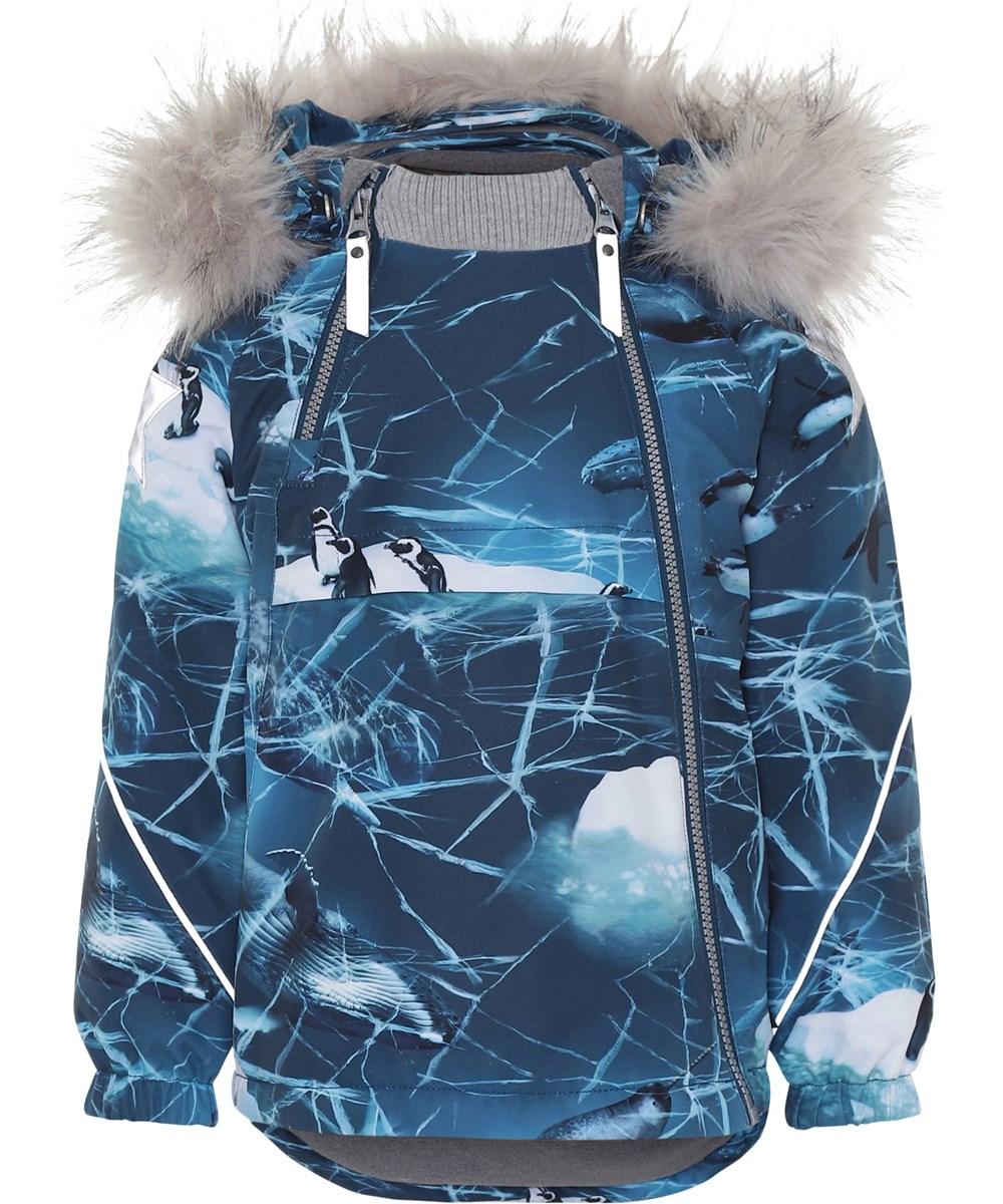 Hopla Fur - Frozen Ocean - Blue winter jacket with print.