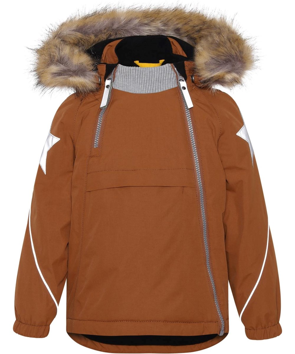 Hopla Fur - Iron - Recycled brown winter jacket with fur trim