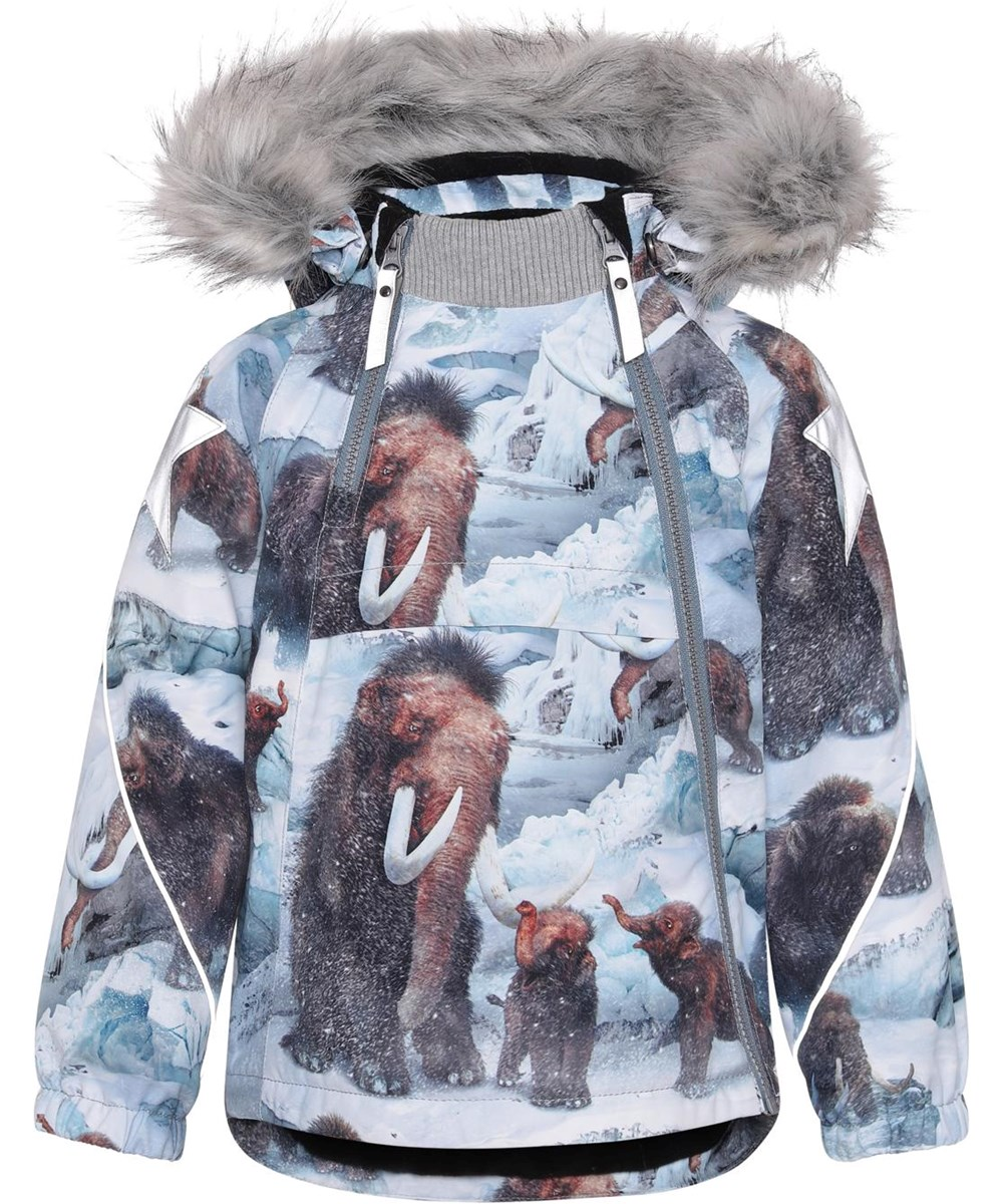 Hopla Fur - Mammoth - Recycled winter jacket with fur and mammoth print