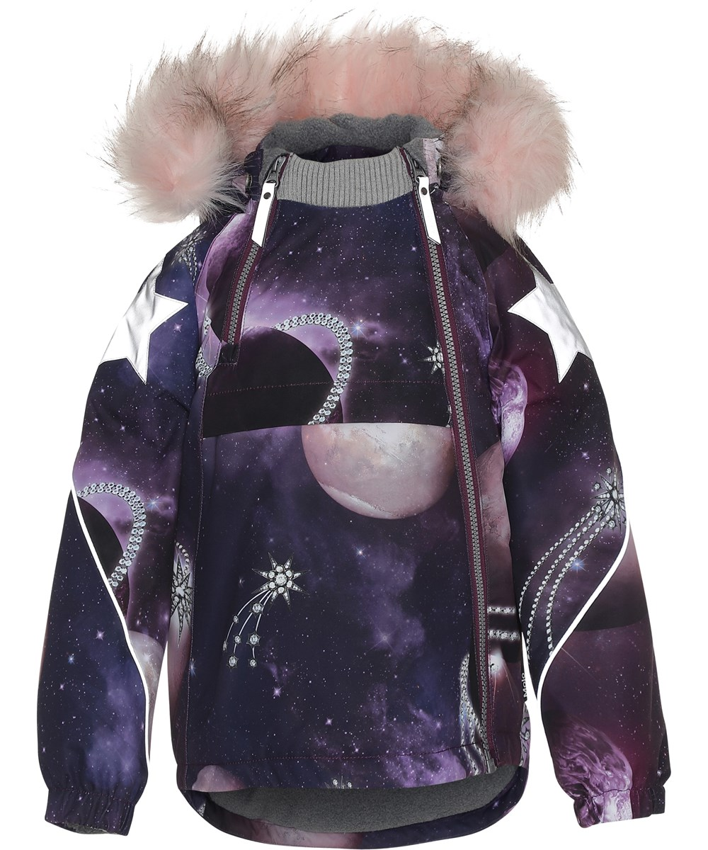 Hopla Fur - Shooting Stars - Purple winter jacket with shooting star.