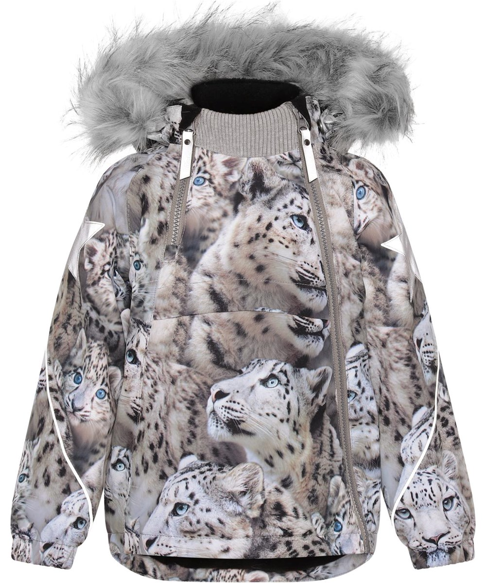 Hopla Fur - Snowy Leopards - Recycled winter jacket with fur and snow leopard