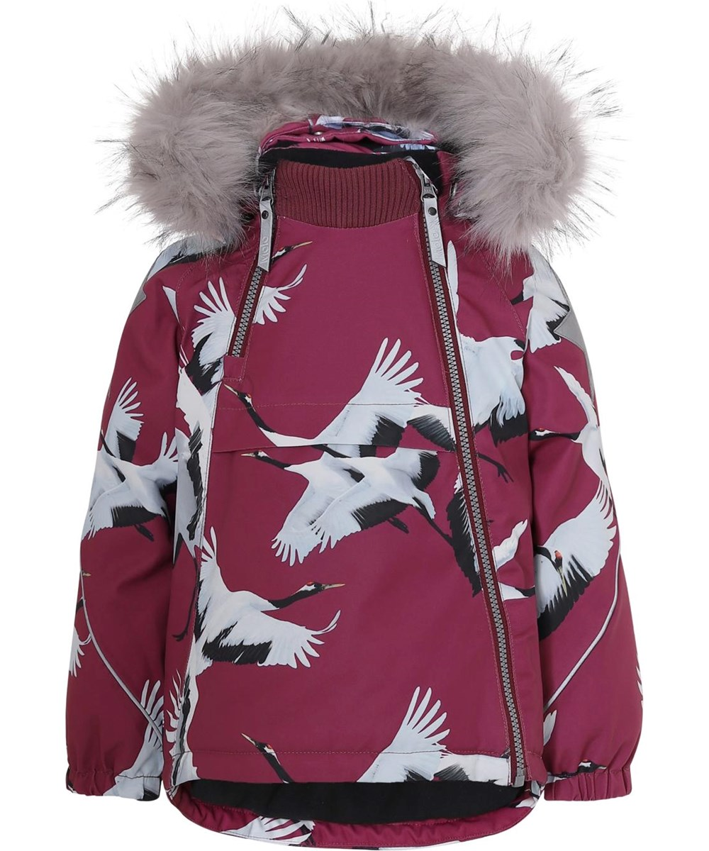 Hopla Fur - The Dance Of Life - Winter jacket with fur and bird print