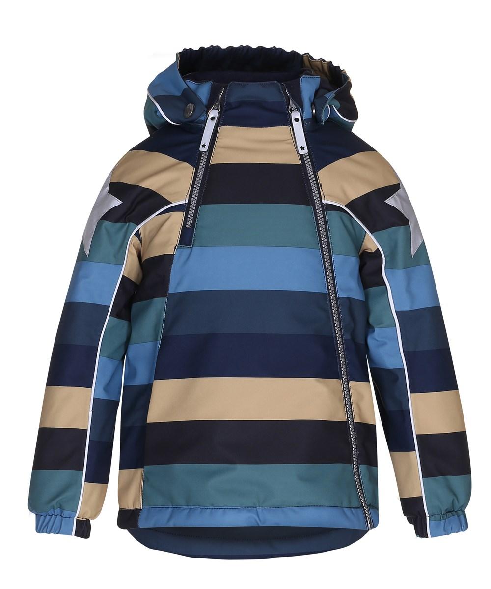 Hopla - Ocean Stripe - Striped winter jacket with reflectors