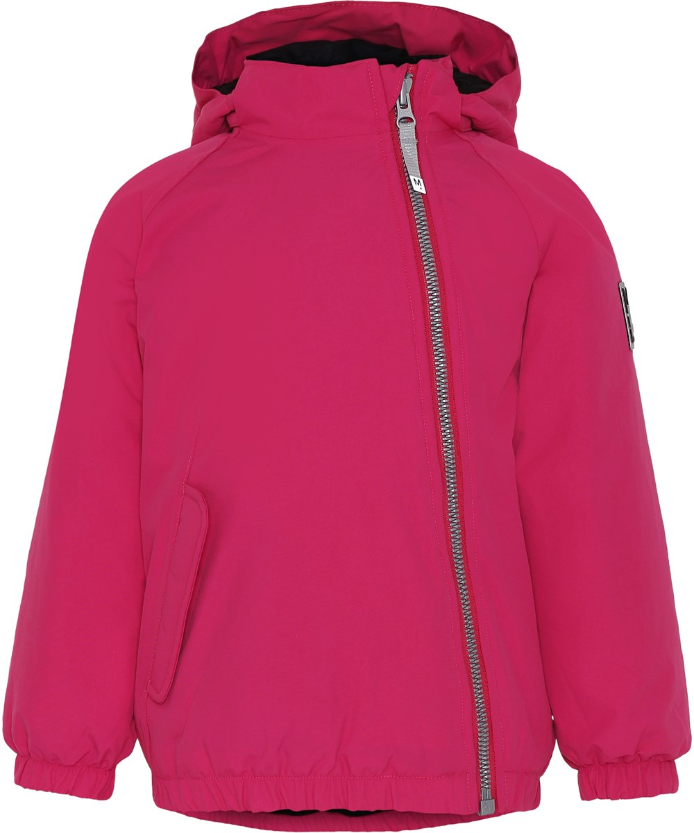 Hoshi - Bright Pink - Pink winter jacket with slanted zipper.