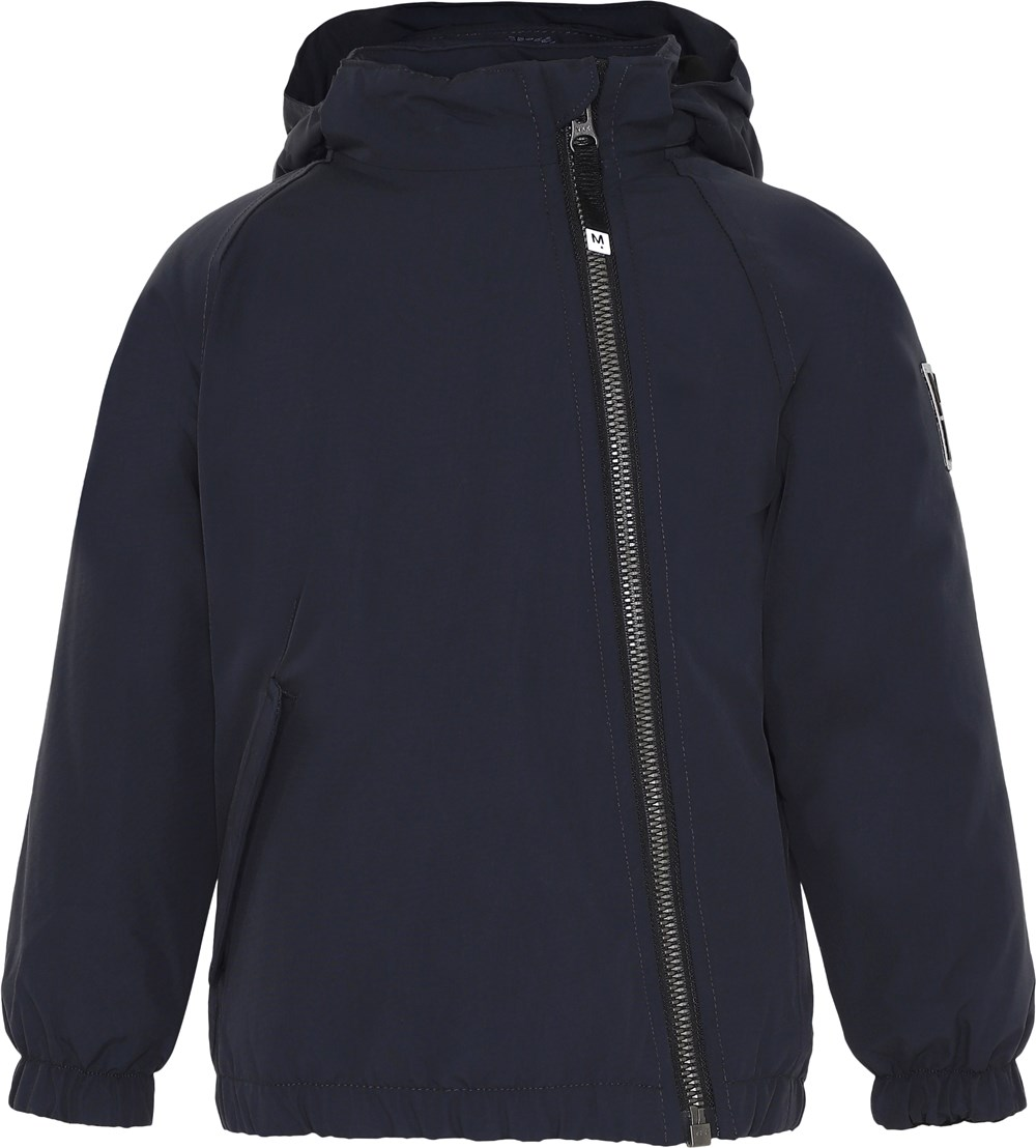 Hoshi - Carbon - Dark blue winter jacket with slanted zipper.