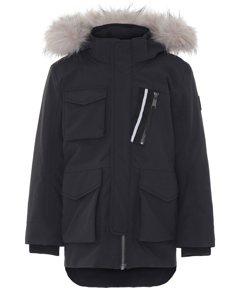 Parker - Very Black - Black winter jacket with faux fur.