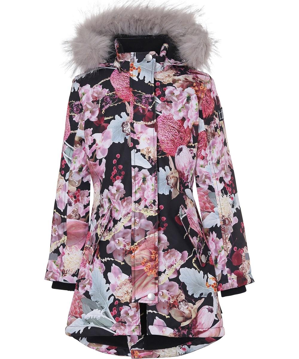 Peace - Bouquet - Floral parka winter jacket with fur