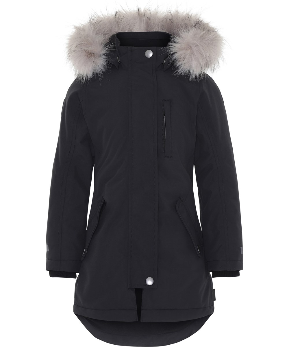 Peace - Very Black - Black winter jacket with faux fur.