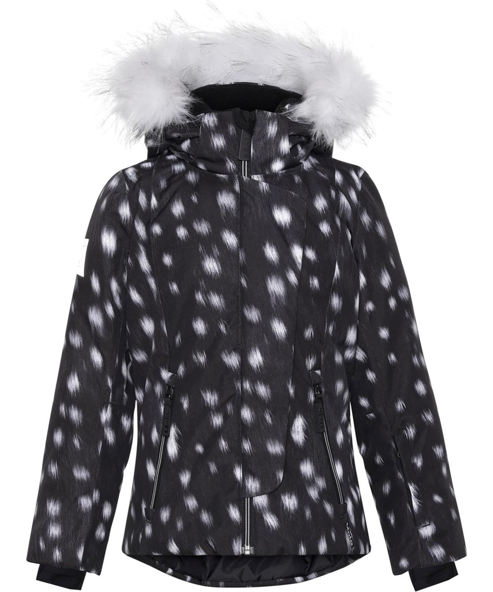 Pearson - Black Fawn - Recycled black and white ski jacket with fur