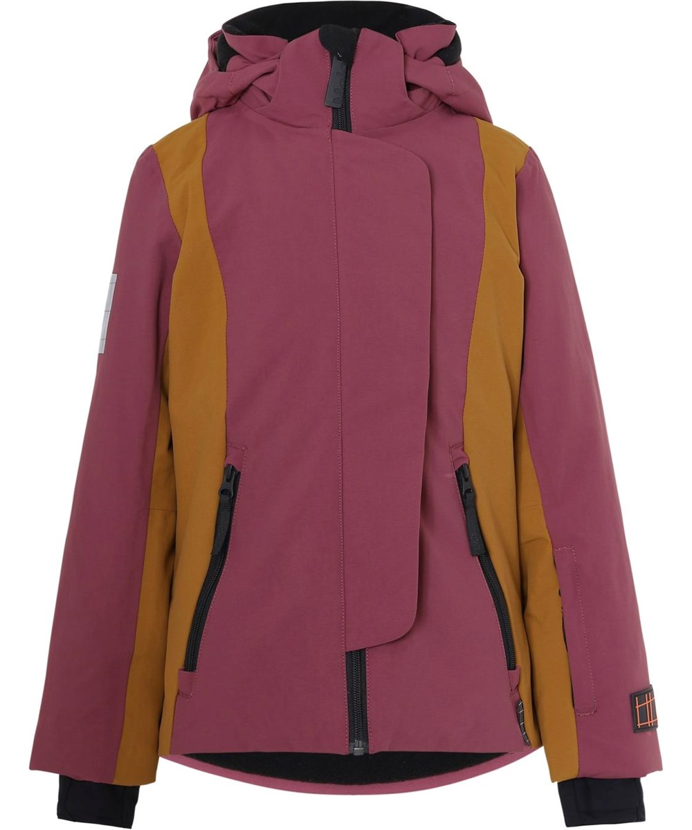 Pearson Recycle - Block Maroon - Recycled bordeaux ski jacket