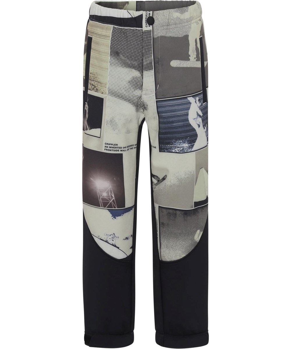 Haemon - Screenshot - Recycled beige softshell trousers with snowboarders