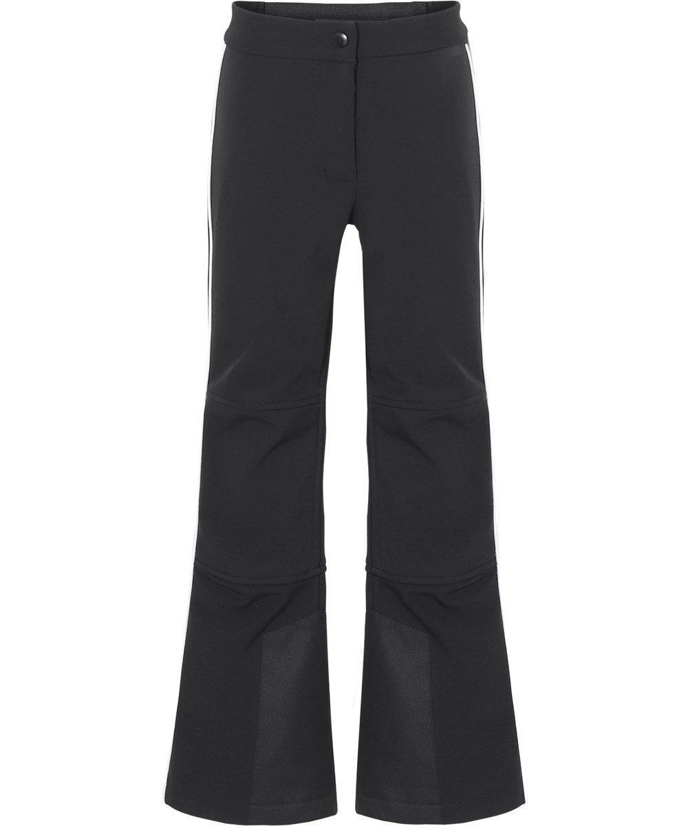 Harlie - Black - Black ski trousers with flare and stripe