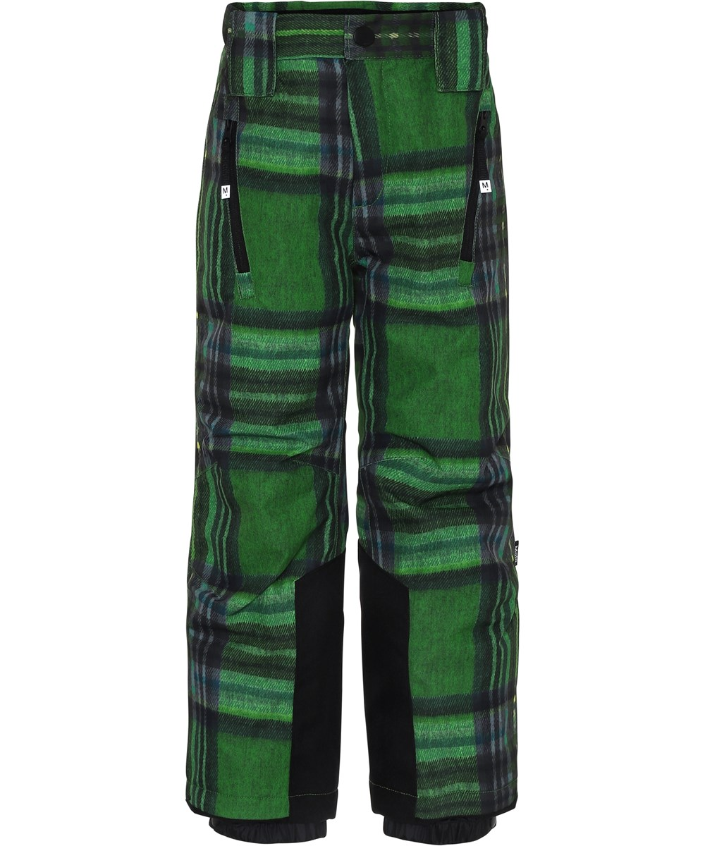 Jump Pro - Big Check - Green ski trousers with plaid.