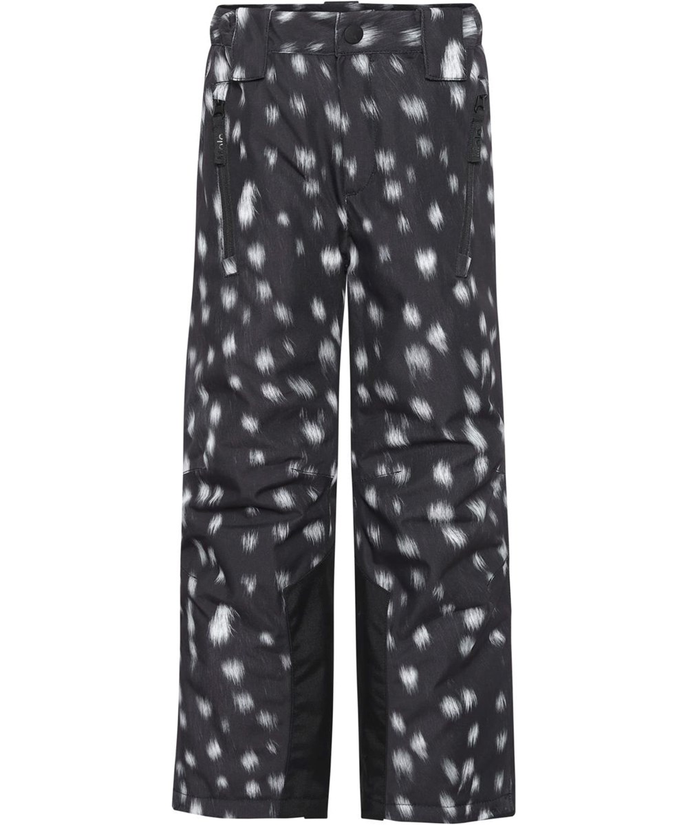 Jump Pro - Black Fawn - Black recycled ski trousers with white spots