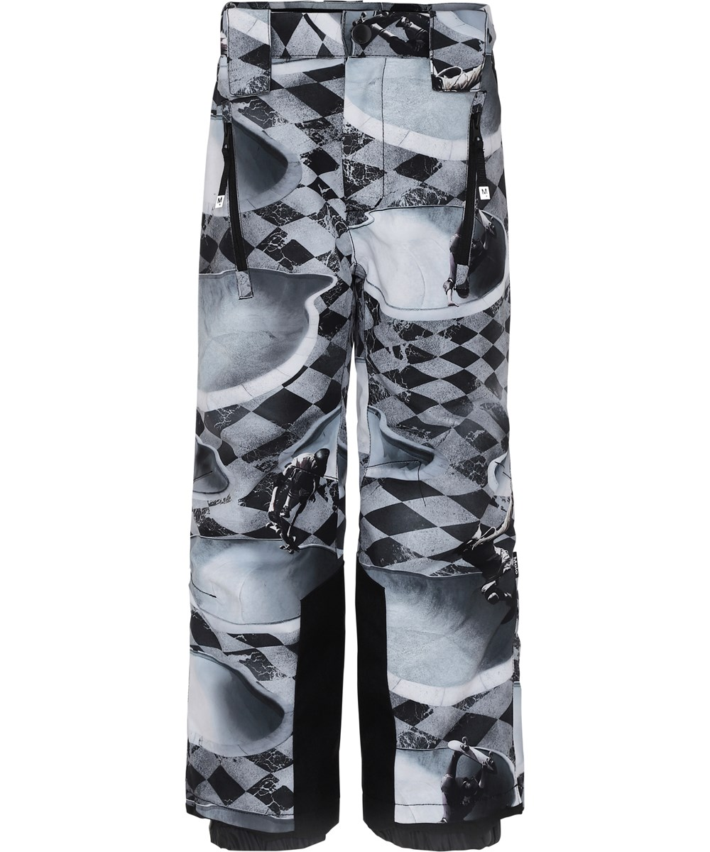 Jump Pro - Check Pools - Grey ski trousers with plaid and skater.