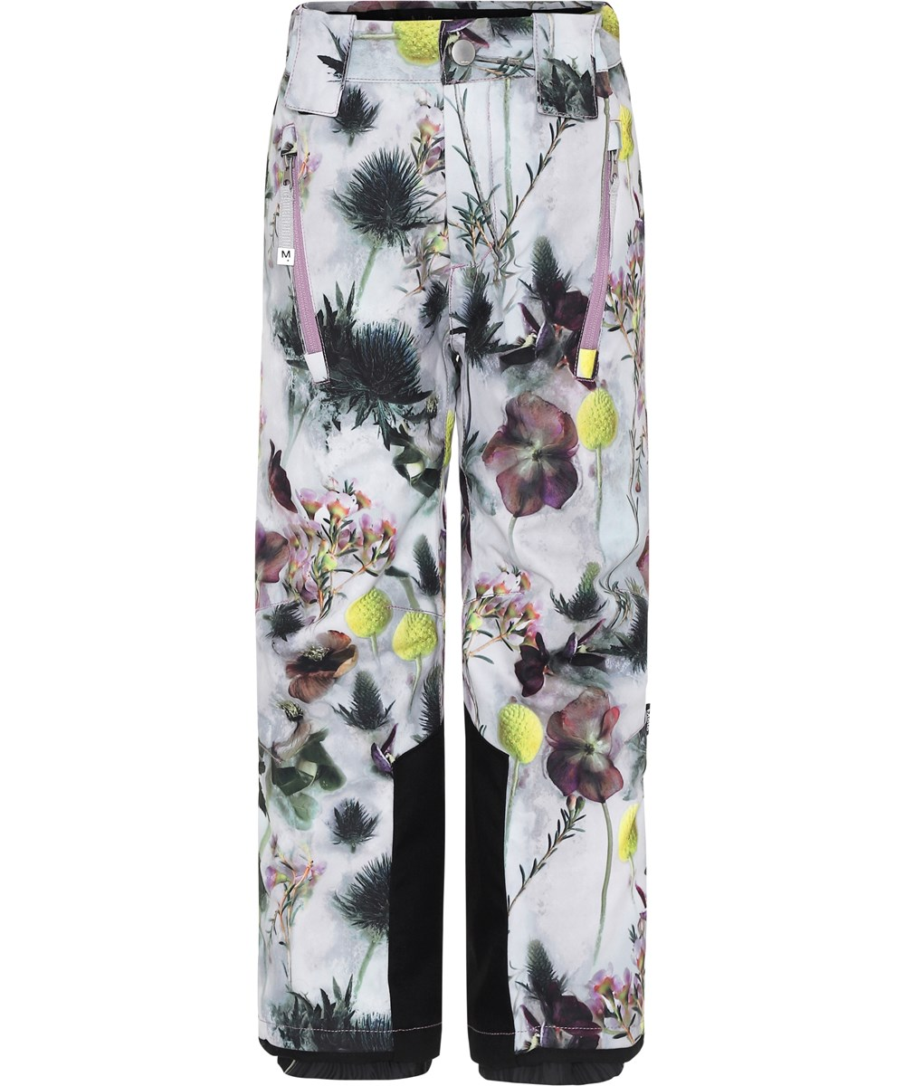 Jump Pro - Frozen Flowers - White ski trousers with flowers.