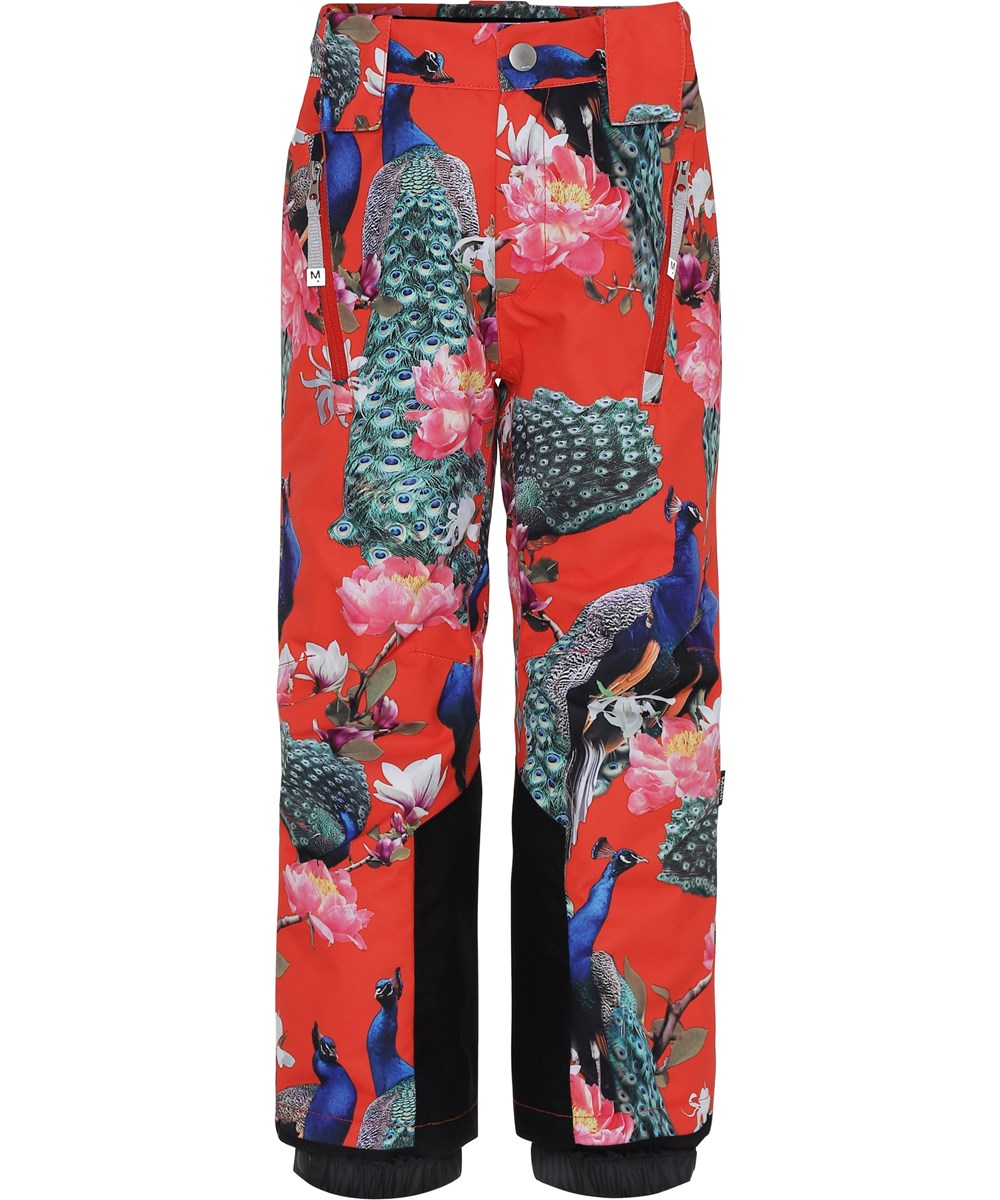 Jump Pro - Peacock - Red ski trousers with peacocks.