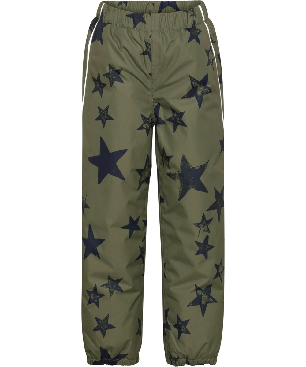 Paxton - Carbon Star - Green rain trousers with star print