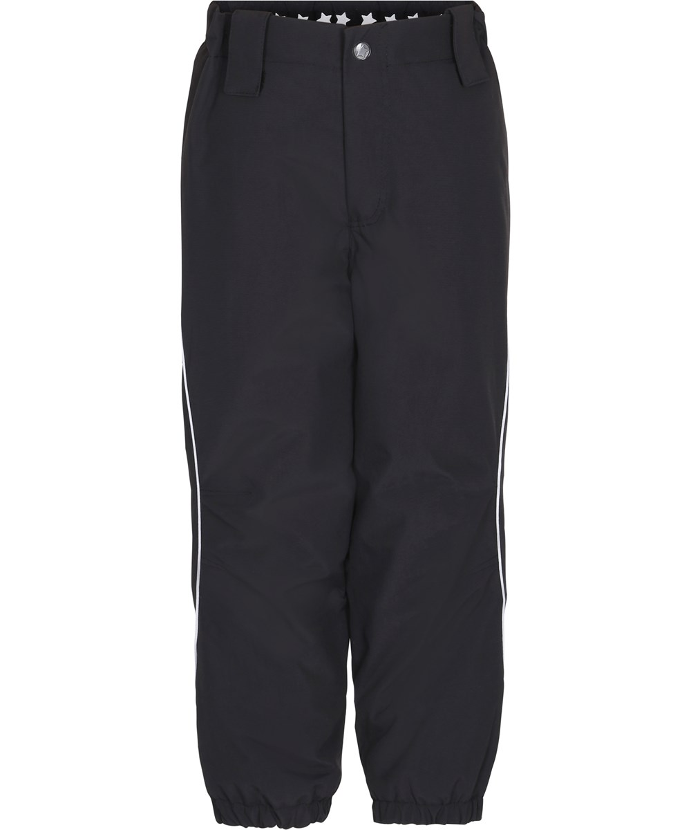 Pollux Active - Very Black - Black ski trousers with star reflectors.