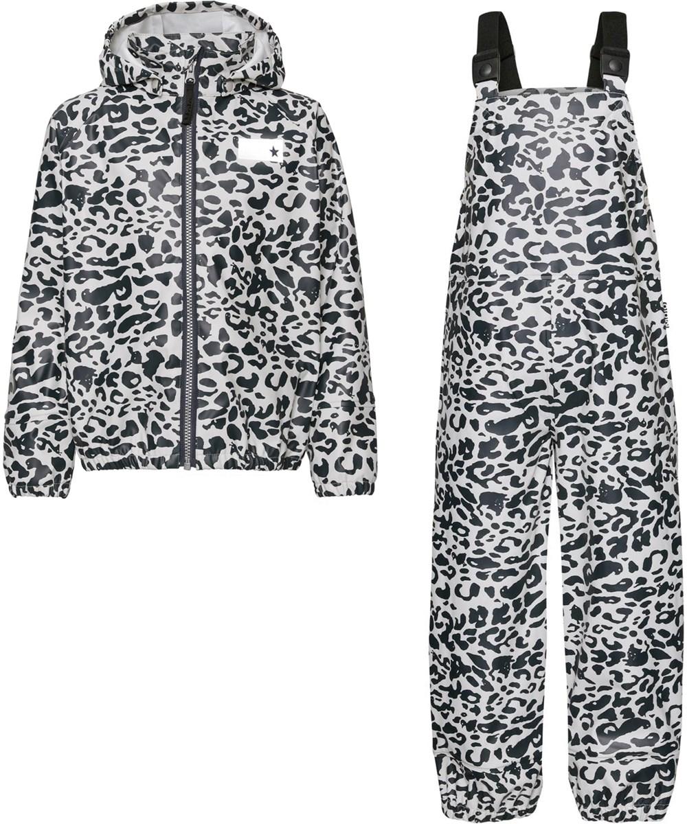 Wade - Leo Blue - Recycled rainwear set with leopard print