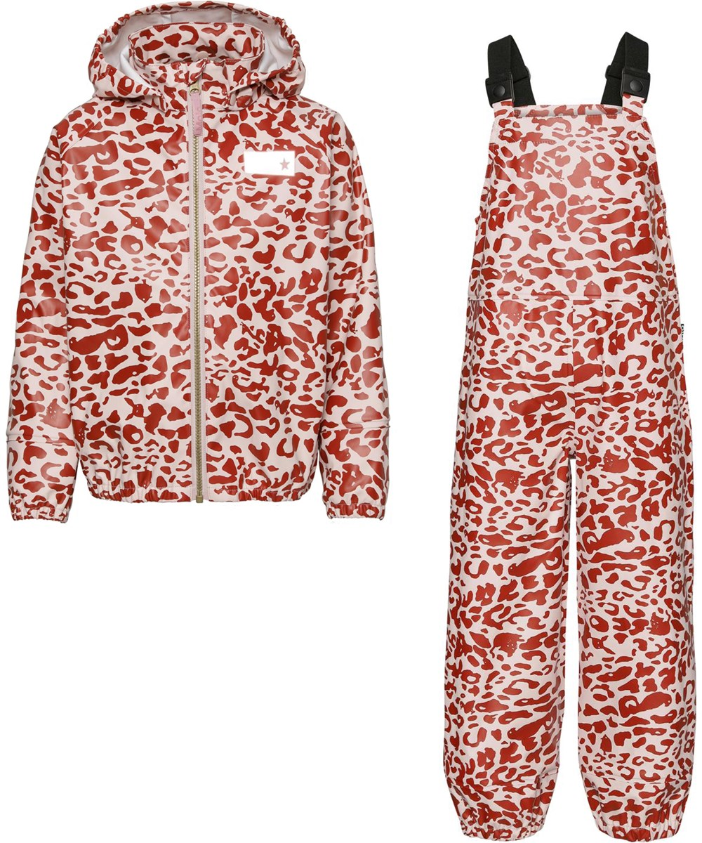 Wade - Leo Red - Recycled rainwear set with leopard print
