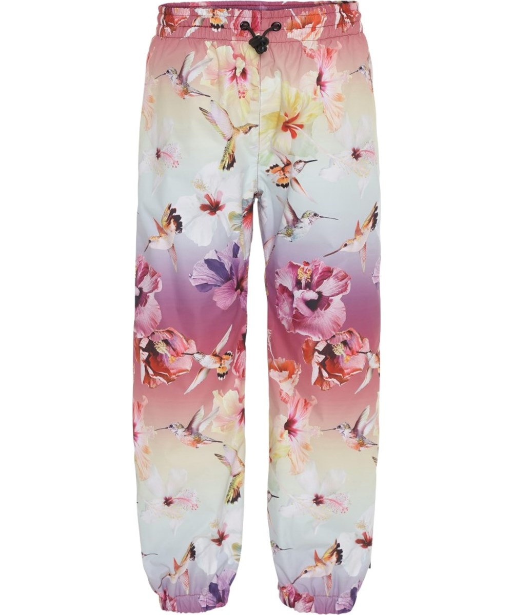 Waits - Hibiscus Rainbow - Rain trousers with flowers and birds