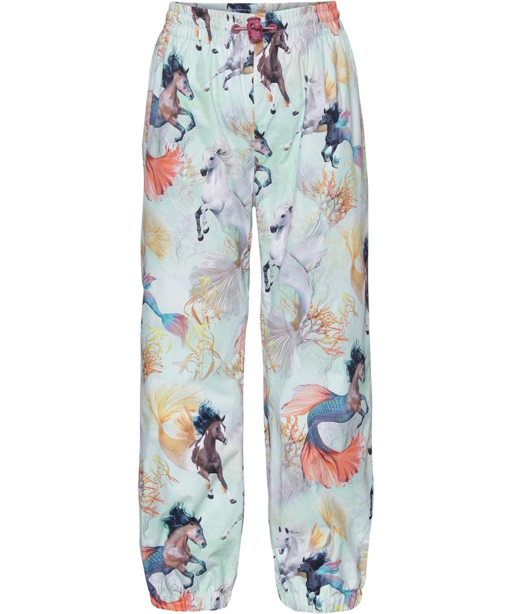 Waits - Swiming Horses - Rain trousers in light blue with seahorse print