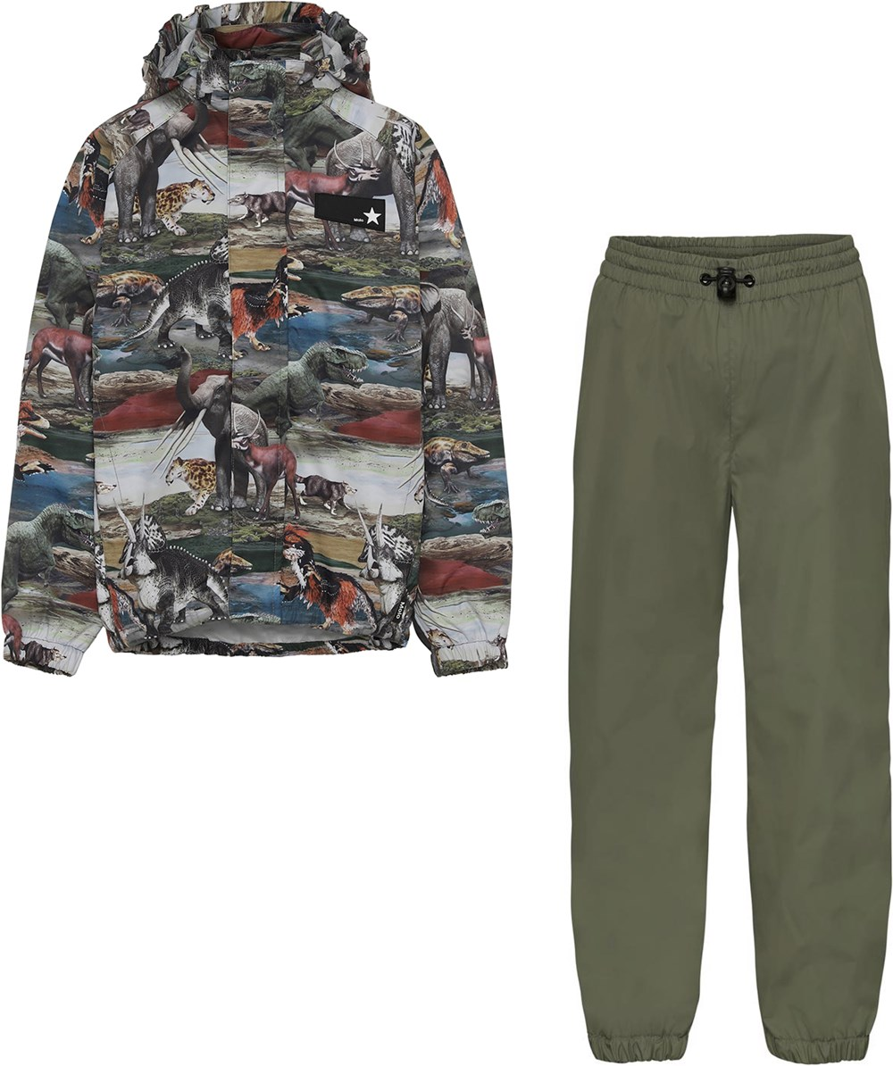 Whalley - Ancient Vegetation - Rainwear set with green trousers and dinosaurs