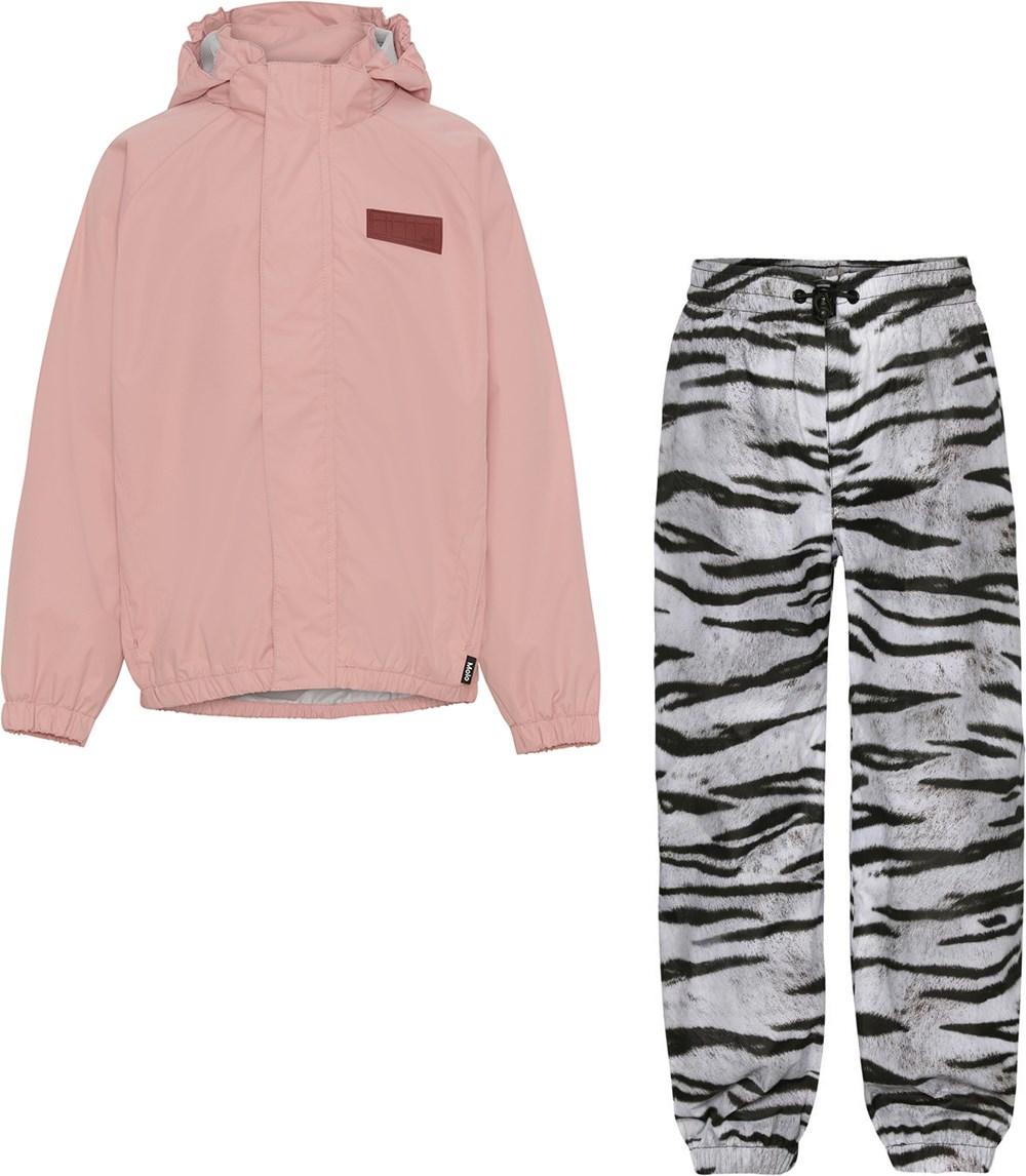 Whalley - Rosequartz Tiger - Rose and tiger striped rainwear set