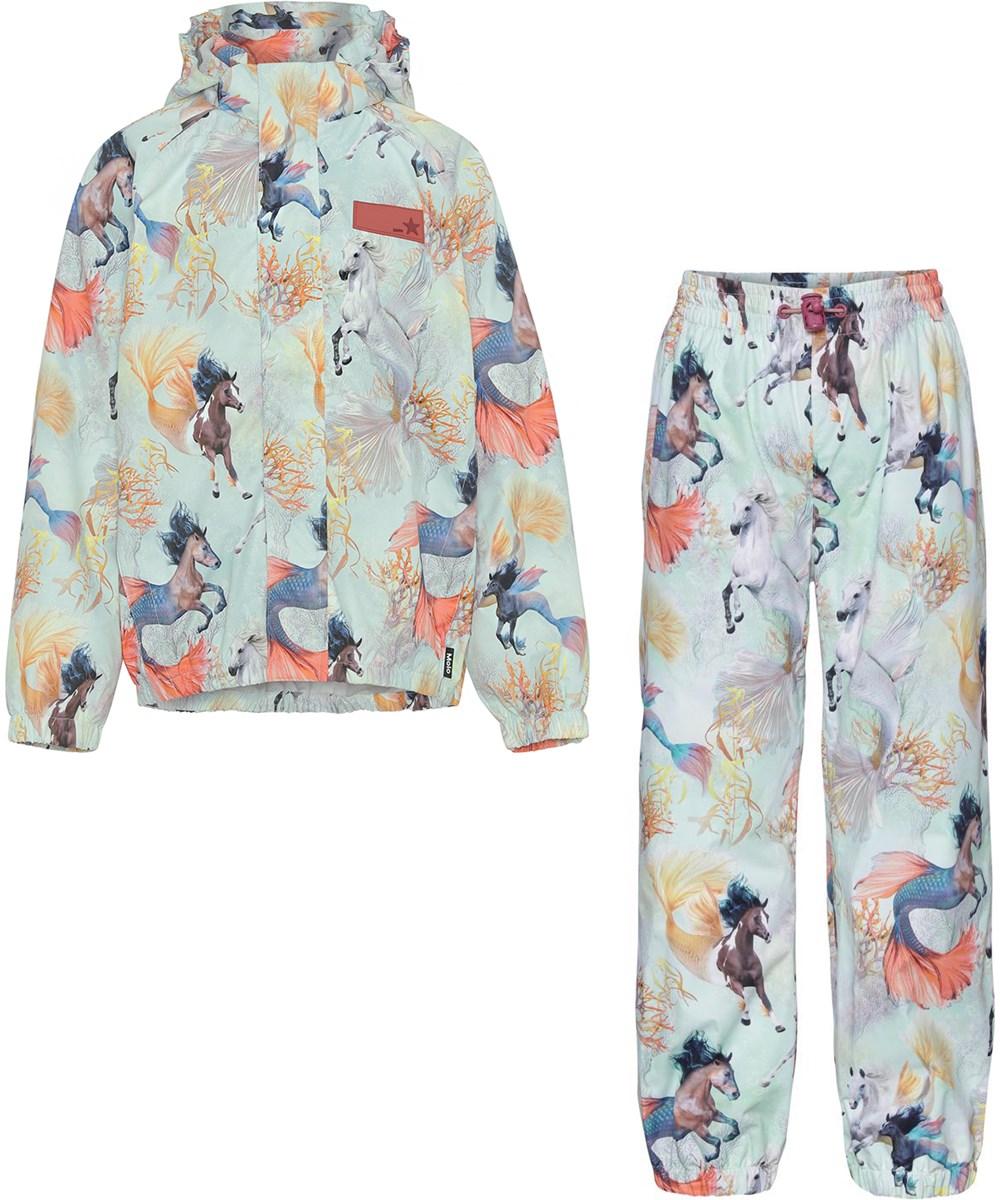 Whalley - Swiming Horses - Light blue rainwear set with seahorse print