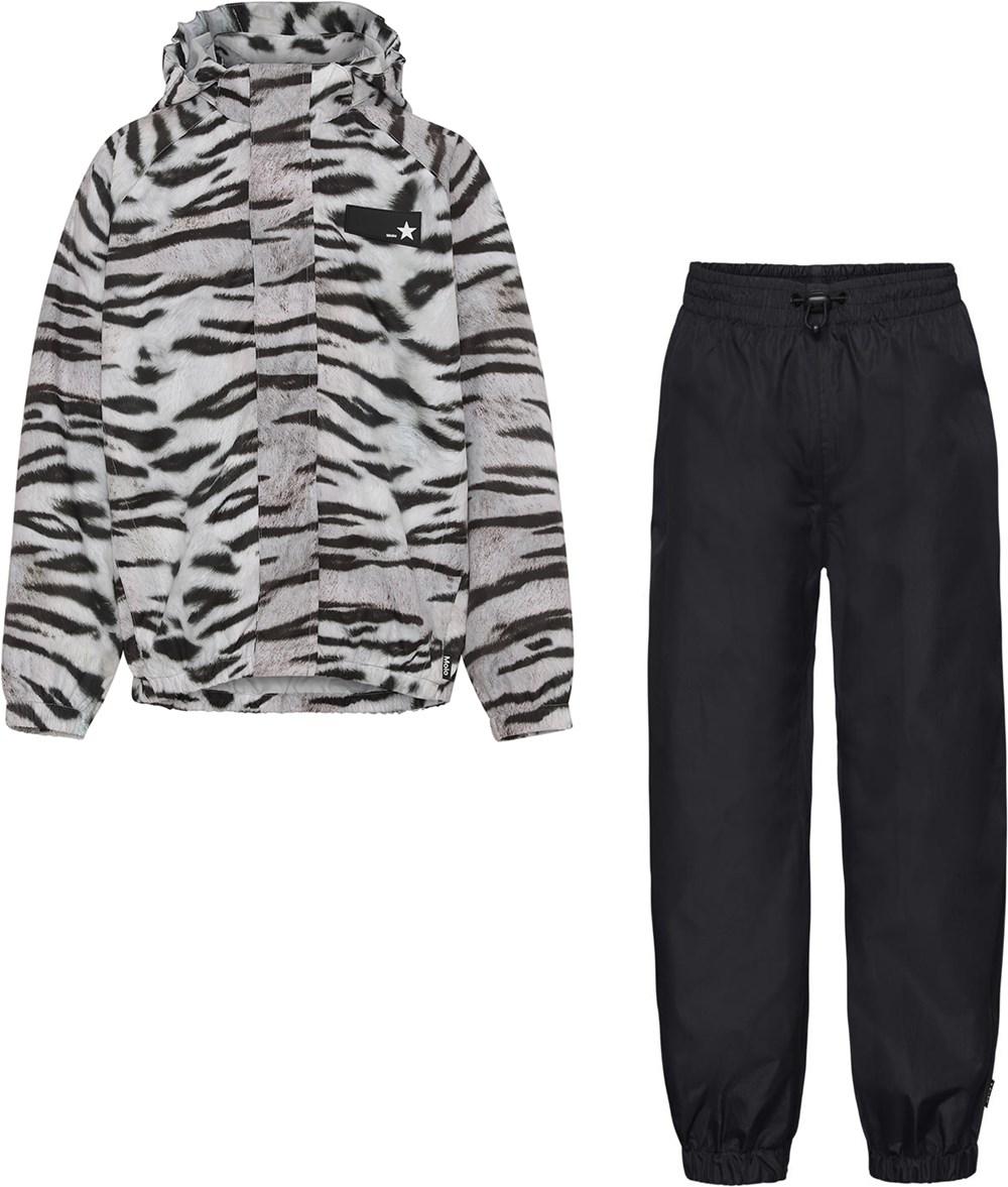 Whalley - Tiger Black - Rainwear set with white tiger stripes