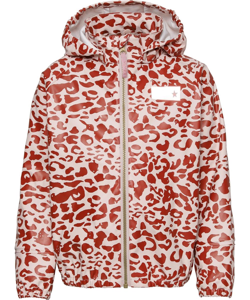 Zan - Leo Red - Rain jacket with rose and red leopard print