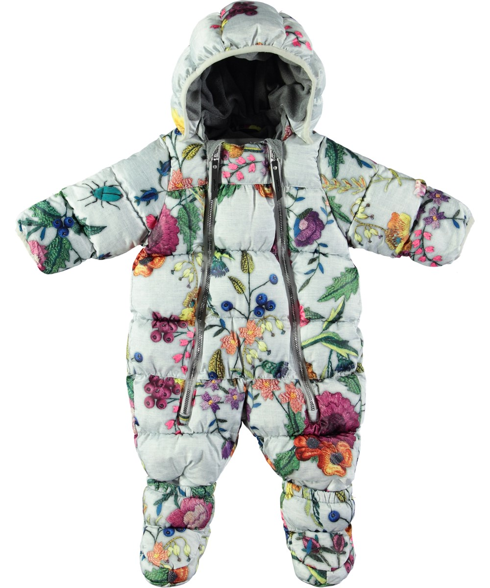 Hebe - Flower Embroidery - Warm baby suit with feet and digital flower print