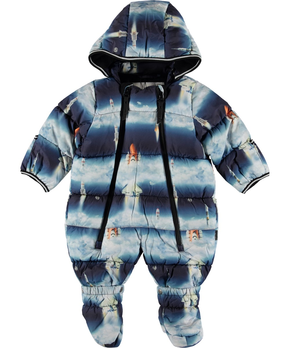 Hebe - Stratosphere - Blue baby snowsuit with rockets.