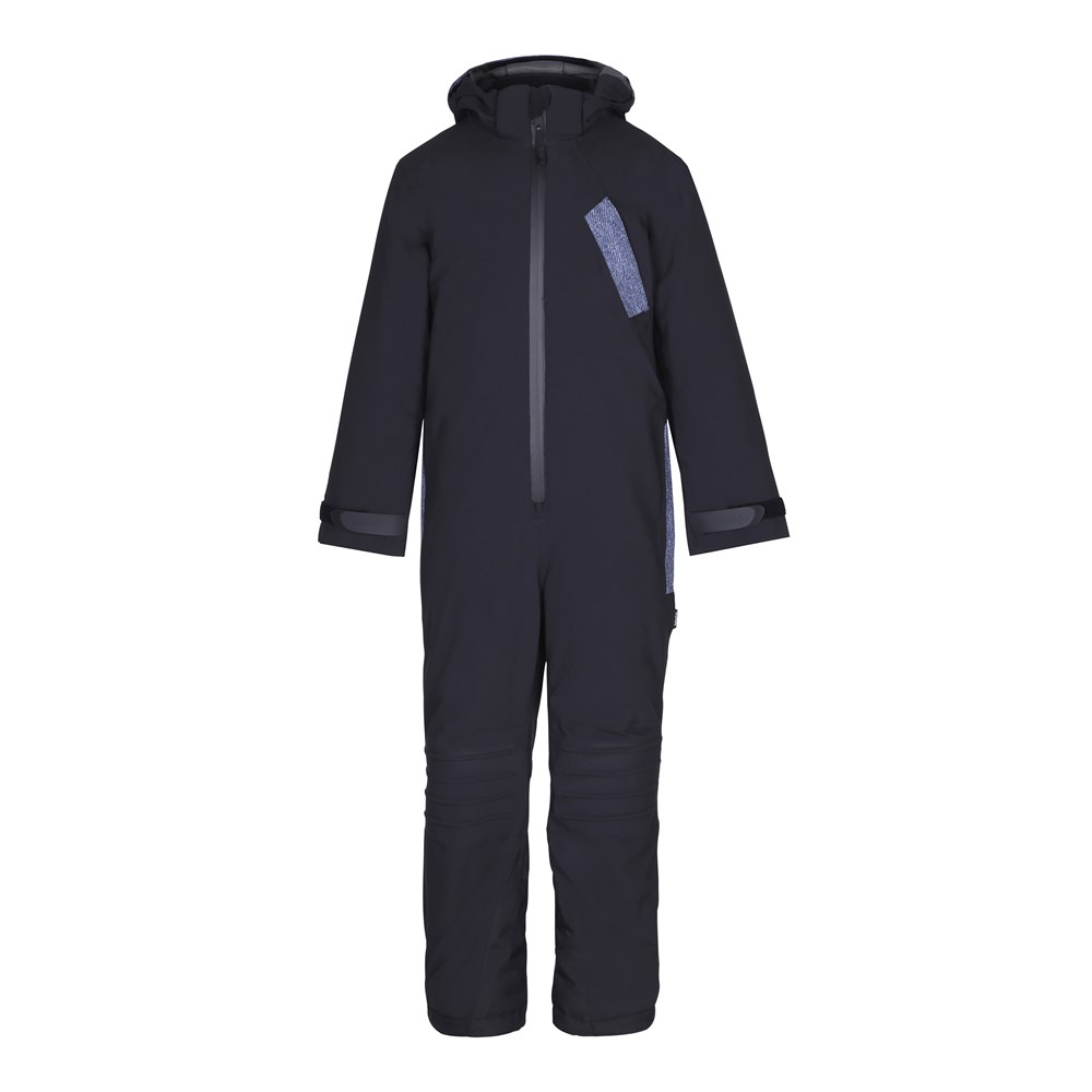 Hopper - Denim - Functional black snowsuit with fleece lining and digital print details