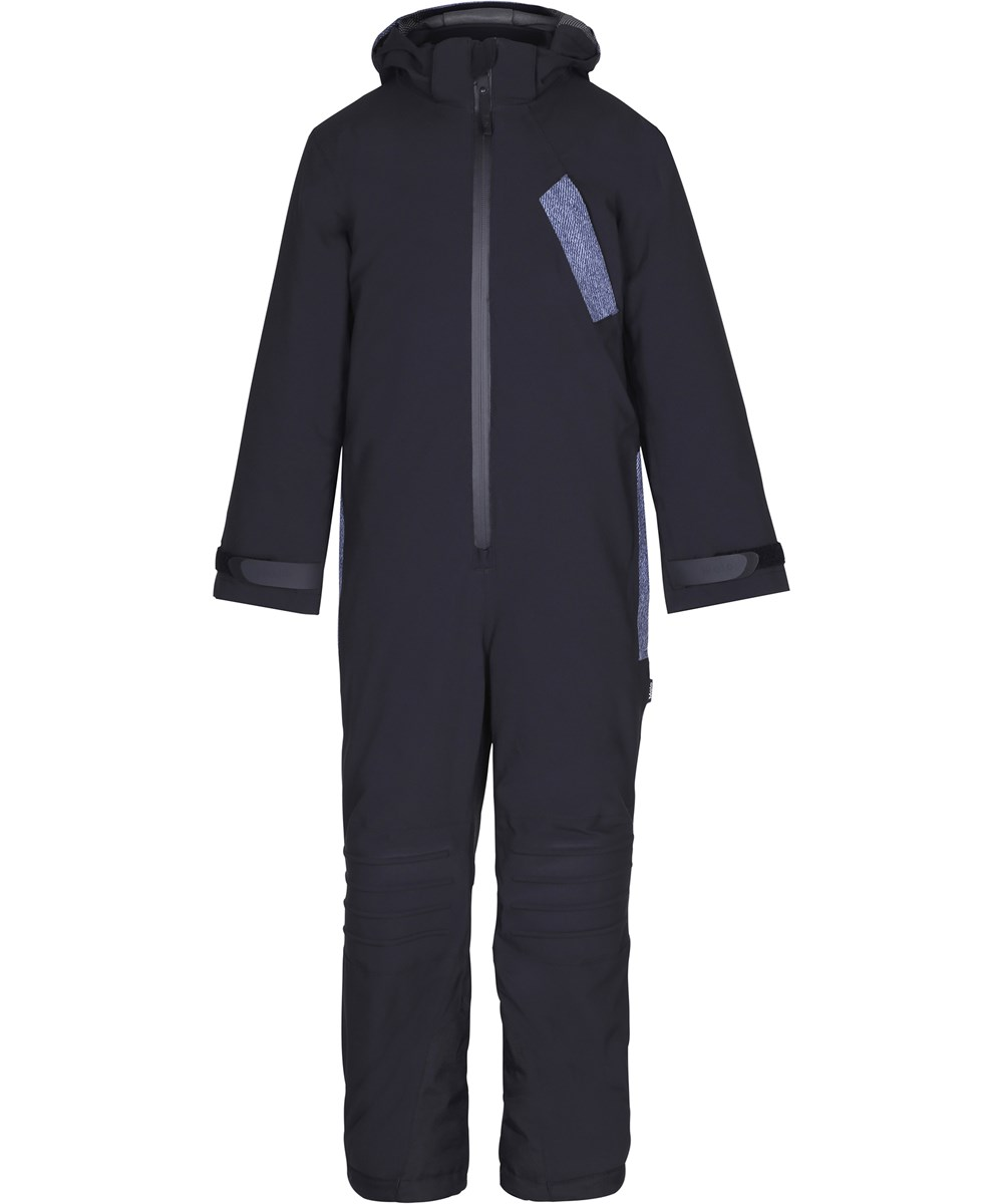Hopper - Denim - Functional black snowsuit with fleece lining and digital print details