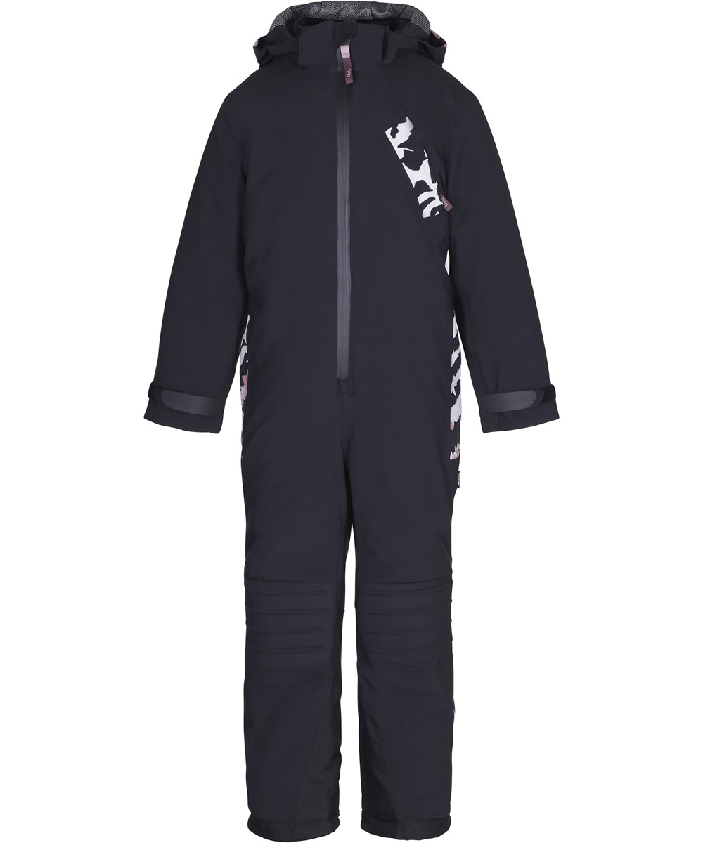 Hopper - Graphic Feathers - Functional black snowsuit with fleece lining and digital print details