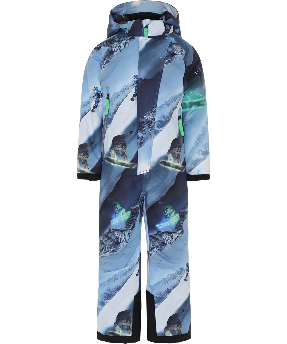Hux - 24 Hrs - Blue ski snowsuit with snowboarders.