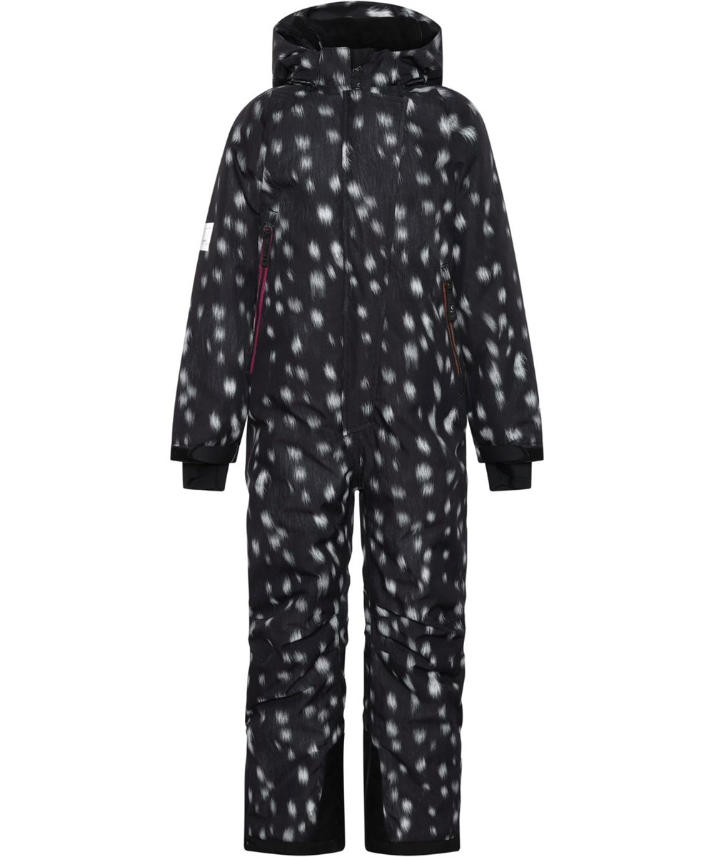 Hux - Black Fawn - Black recycled snowsuit with white spots